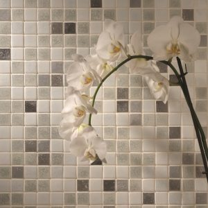 black white and grey ceramic tile mosaic with orchid