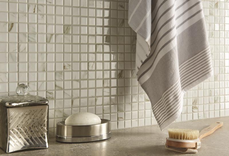 mosaic of ceramic tiles in kitchen