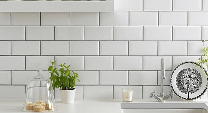White Kitchen With White Tile Backsplash
