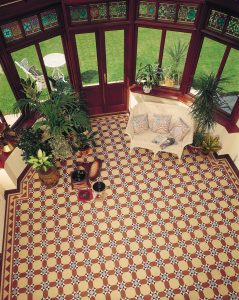 olde english victorian floor tile in conservatory