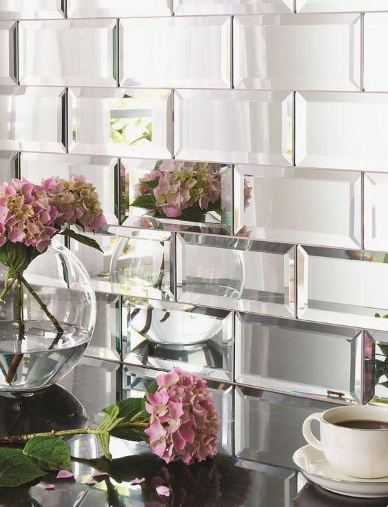 mirrored brick shaped tiles