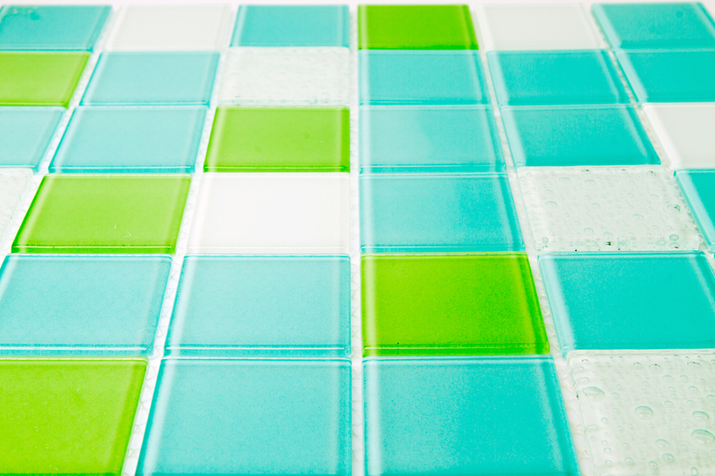 blue green white tiles